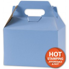 French Blue Varnish-Striped Gable Boxes, 8 x 4 7/8 x 5 1/4 - 2508033